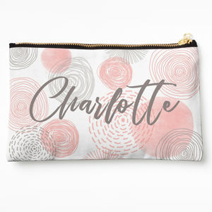 Pink And Grey Circle Make Up Bag
