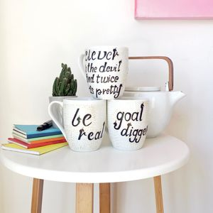 Hand Painted Unicorn Message Mug - tableware