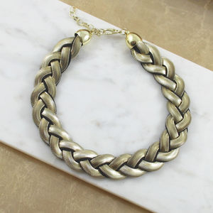 Braided Chain Collar Necklace - women's jewellery