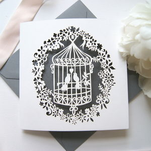 Pewter Silver Lovebirds Birdcage Laser Cut Card - wedding cards