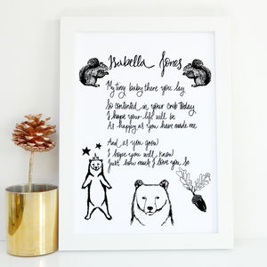 Personalised Baby Gift Poem Print - new in home