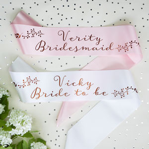 Personalised Botanical Bridal Sash