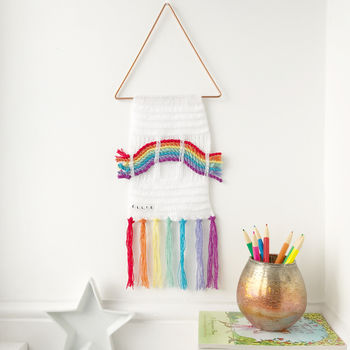 Personalised Knitted Rainbow Wall Hanging