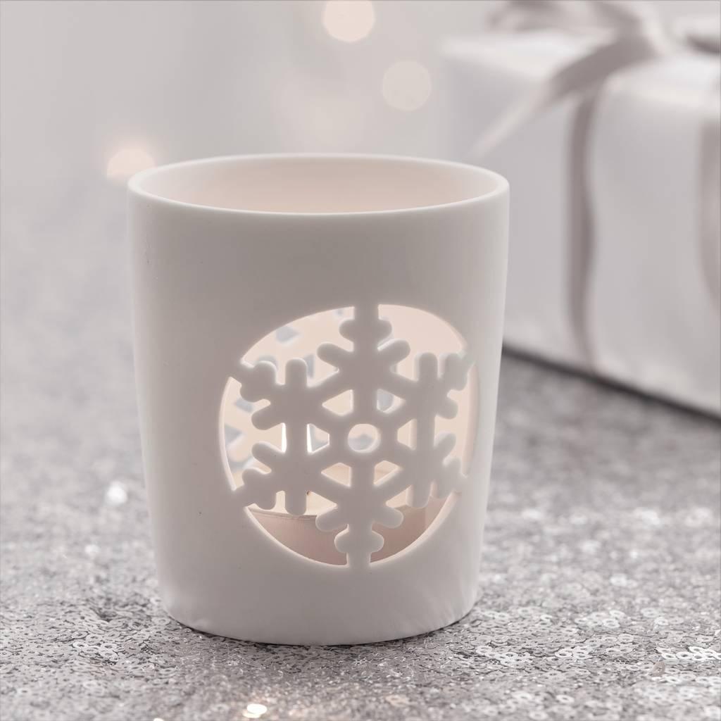 Snowflake Christmas Tea Light Holder By The Christmas Home