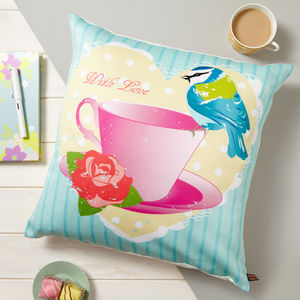 Tea Cup And Bird Vintage Cushion - summer sale