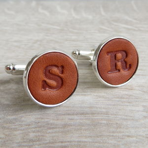 Personalised Embossed Real Leather Letter Cufflinks - gifts for fathers