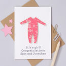 Liberty Print New Baby Grow Personalised Card