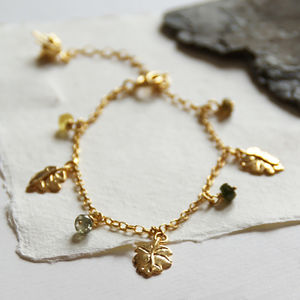Gold Just So Leaf Charm Bracelet - charms, charm bracelets & necklaces