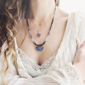 Blue Druzy And Sapphire Triangle Necklace