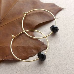 Hoops Elaborated With Swarovski Crystals In Jet Black - earrings
