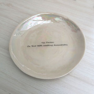 Personalised Ceramic Plate Pearl Wedding Anniversary - 30th anniversary: pearl