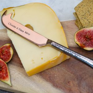 'Cheese And Wine Time' Rose Gold Cheese Knife - dining room