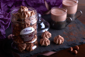 Cacao Hazelnut Crowns: Meringue Bites In A Gift Jar - gluten free food gifts