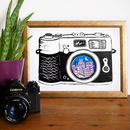Linocut Vintage Camera Print City Skyline