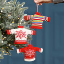 Set Of Three Knitted Christmas Jumper Baubles