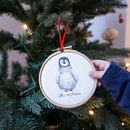 Personalised Penguin 1st Christmas Tree Hoop Decoration