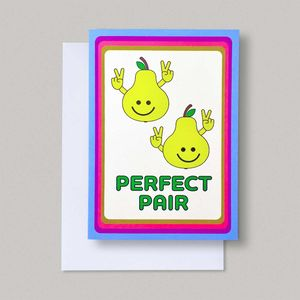 Funny Perfect Pair Couples Retro Love Anniversary Card