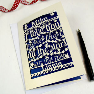 Personalised Papercut Stars A5 Card - cards & wrap