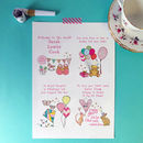 Personalised New Baby Print Print alone (in pink)