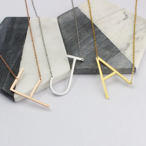 Initial Necklace In Silver, Gold Or Rose Gold