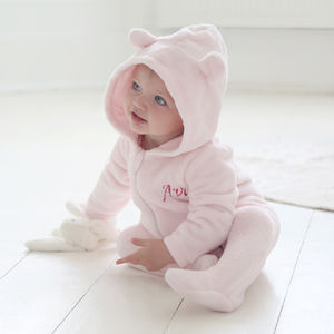 Personalised Bear Fleece Onesie Pink