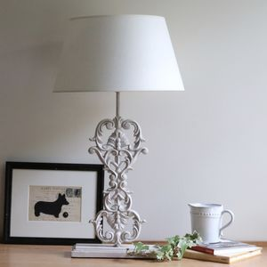 Ornate Iron And Wooden Table Lamp - living room