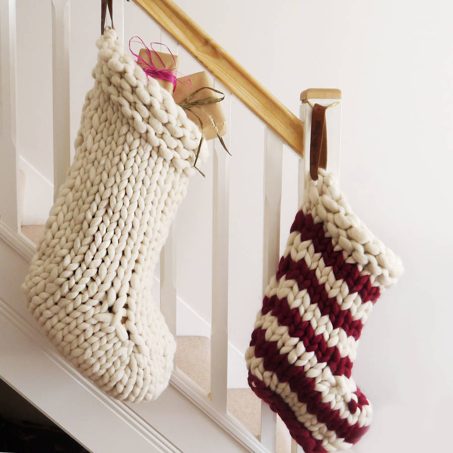 chunky hand knitted christmas stocking by lauren aston designs ...