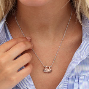 Sterling Silver And 18ct Rose Gold Sloth Necklace