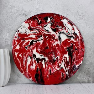 Original Fluid Art Circular Abstract Red - paintings