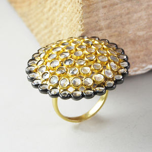 Gold Large Faceted Herkimer Diamond Statement Ring