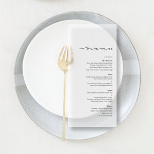 Translucent Vellum Minimal Wedding/Party Menus