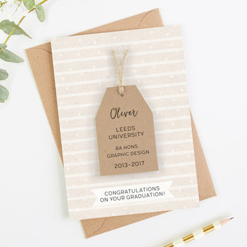 Personalised Graduation Card Stripe