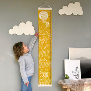 Personalised Mountain Adventure Canvas Height Chart