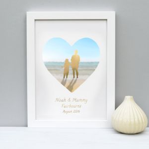 Personalised Seaside Silhouette Gold Foil Print