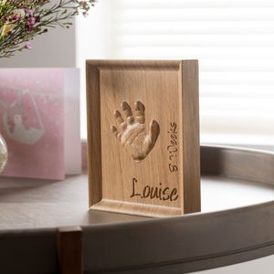 Personalised Baby Toddler Handprint In Oak - wall hangings for children