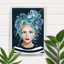 Sea Sister Mermaid Girl Portrait Art Print