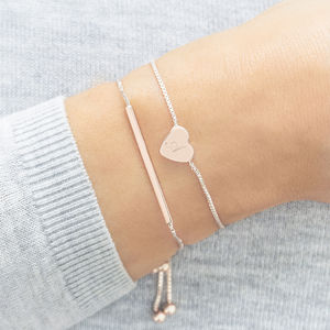 Personalised Skinny Heart And Bar Bracelet Set - valentine's gifts for her