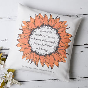 Retirement Sunflower Personalised Cushion Cover