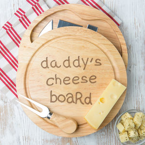 Daddy's Cheese Board And Knife Set Personalised - tableware