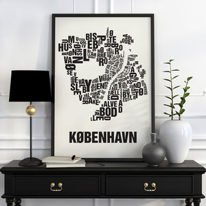 Copenhagen Letter Map Screen Print - screen prints