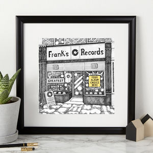 Personalised Record Shop Print - drawings & illustrations