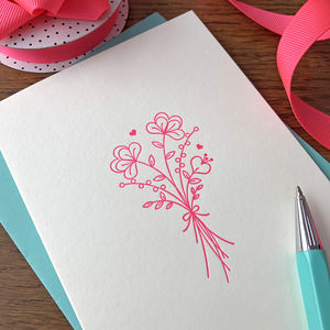 'Flower Posy' Letterpress Card