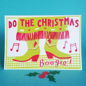 Christmas Boogie Screen Printed Christmas Card