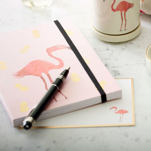 Flamingo And Pineapple Notebook - stationery sale