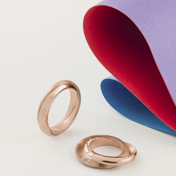 Personalised Rose Gold Mobius Infinity Wedding Rings