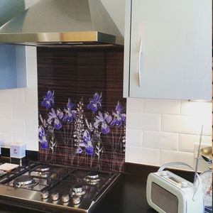 Watercolour In Ebony Patterned Glass Splashback - bathroom