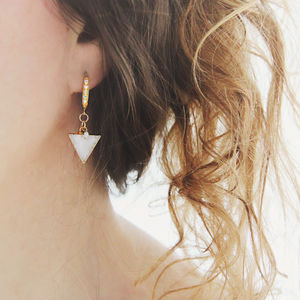 White Druzy And Diamond Earrings