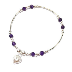 925 Silver And Amethyst Charm Bracelet Birthday Gift