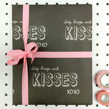 'Big Hugs And Kisses' Wrapping Paper Pack 0f Five