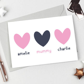 Personalised Siblings Hearts Card